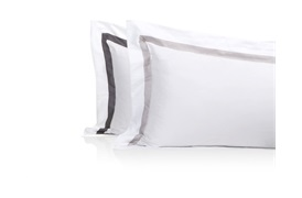 Finibus Border Oxford           Pillowcases Grey