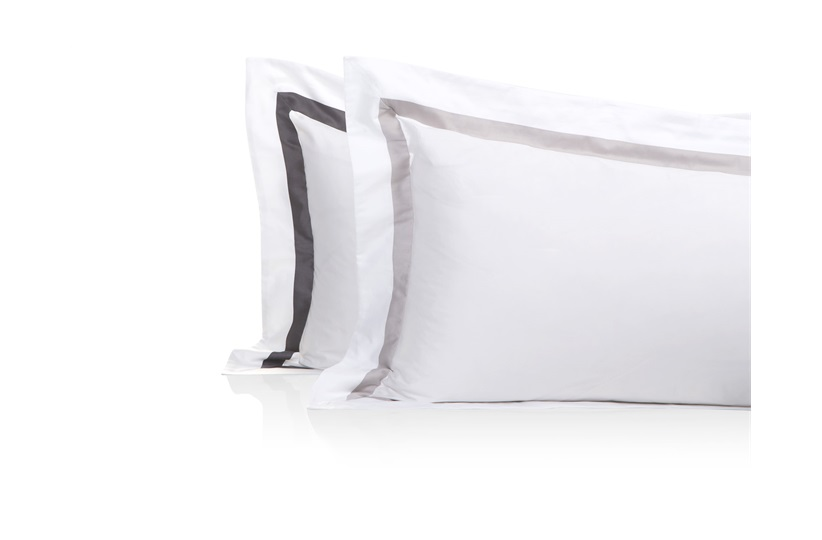 Finibus Border Oxford           Pillowcases Grey - Standard