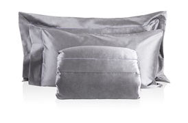Finibus Embroidery Super King Duvet Set with Standard Pillowcases Grey