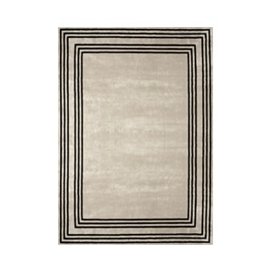 Vicos Border Rug 250x350cm in Black & Beige
