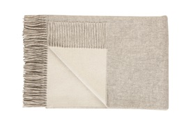REVERSIBLE CASHMERE THROW Silver/White