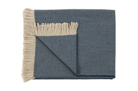 Two-Tone Beige/Teal Throw