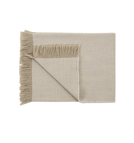 Two-Tone Beige/White Throw