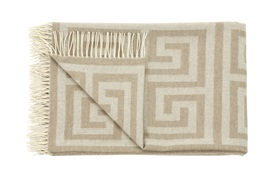 Beige Geometric Throw