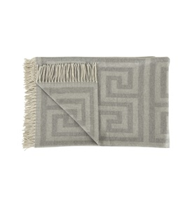 Light Grey Geometric Throw