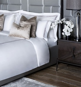 600tc Finibus Duvet Set with a Beige Border