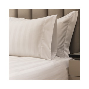 Caily Stripe King Duvet Set White