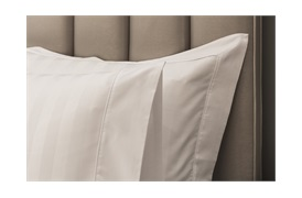 Caily Stripe Super king Duvet Set White with Standard Pillowcases