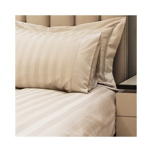 Caily Stripe Super king Duvet Set Stone with Standard Pillowcases