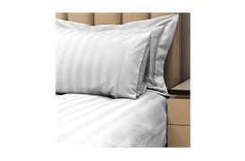 Caily Stripe Super King Duvet Set Silver Grey with Standard Pillowcases