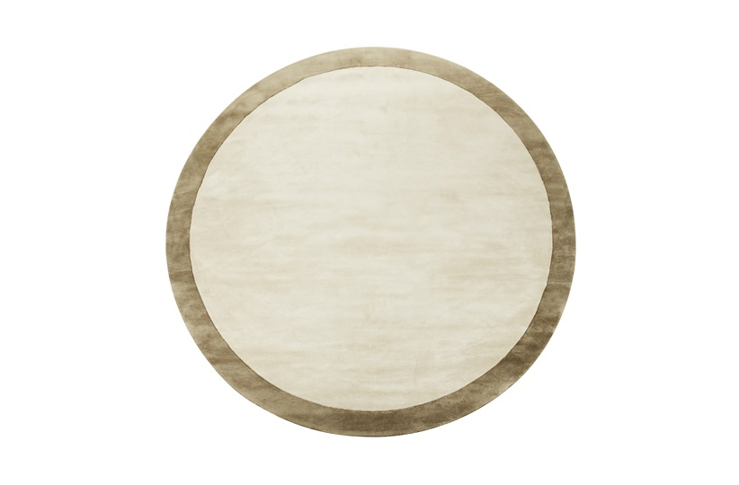 Barker Border Round Rug D:320 in Ecru and Stone Grey