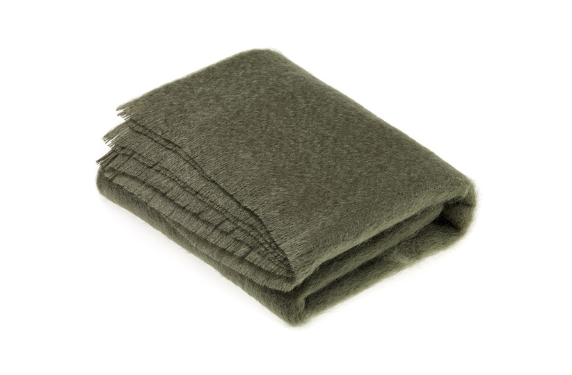 Mohair Moss Green Throw