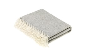 Merino Herringbone Grey Throw