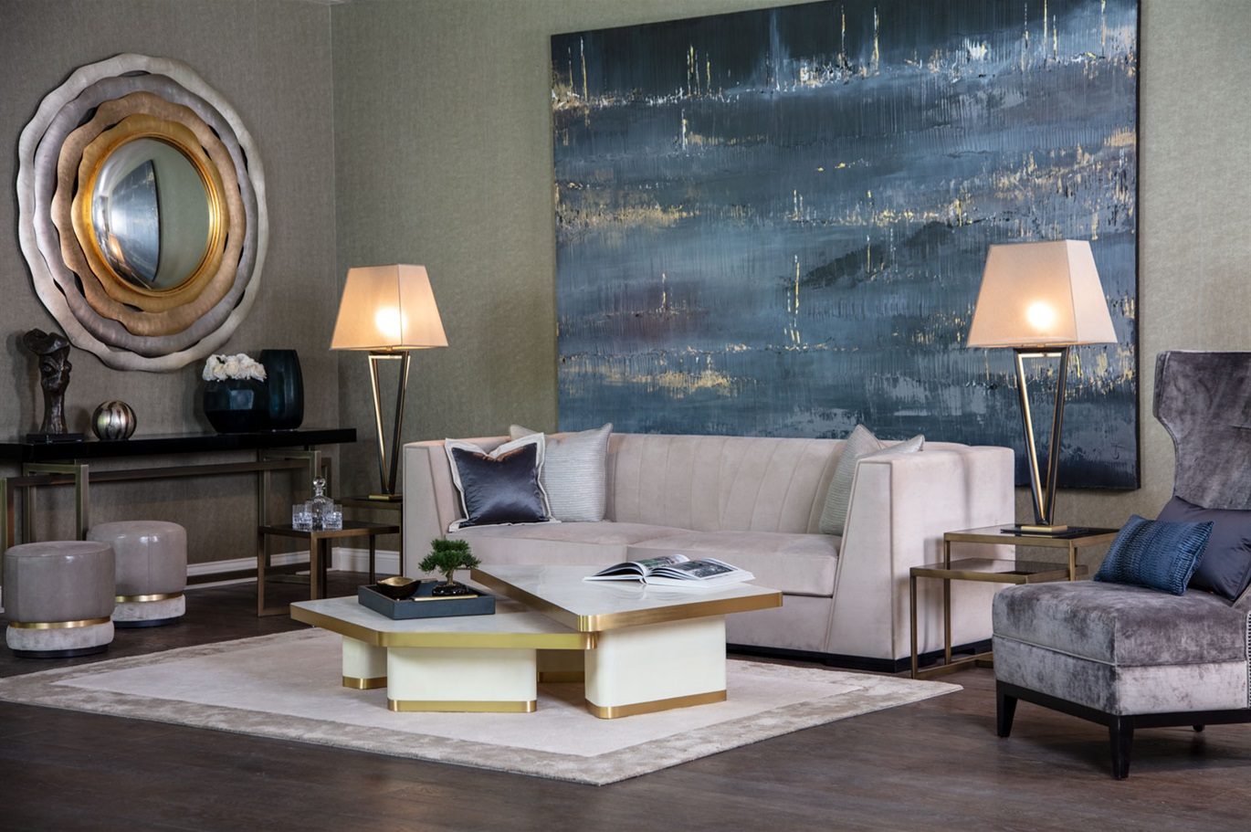 Luxury Living Room In Contemporary Grey Blue And Gold Tones