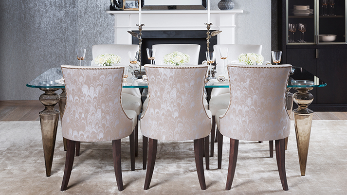 Luxury upholstered dining chairs designed and handmade in for Dining room furniture uk