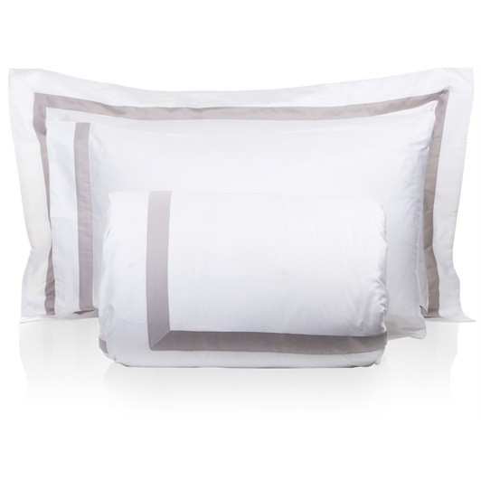Finibus Border S-King size Duvet set -White/Beige (Standard Pillowcases 50x75cm)
