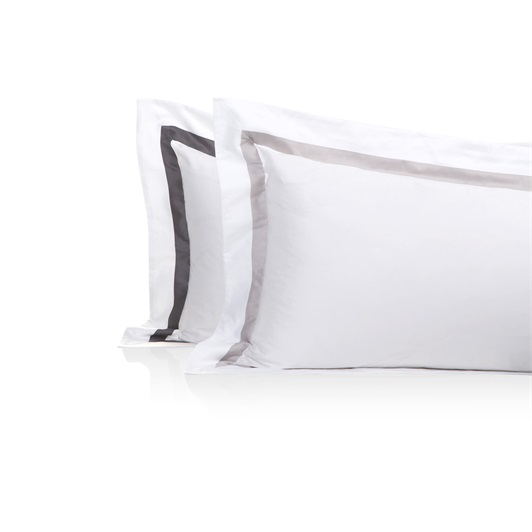 Finibus Border Standard Oxford Pillowcases White/Grey