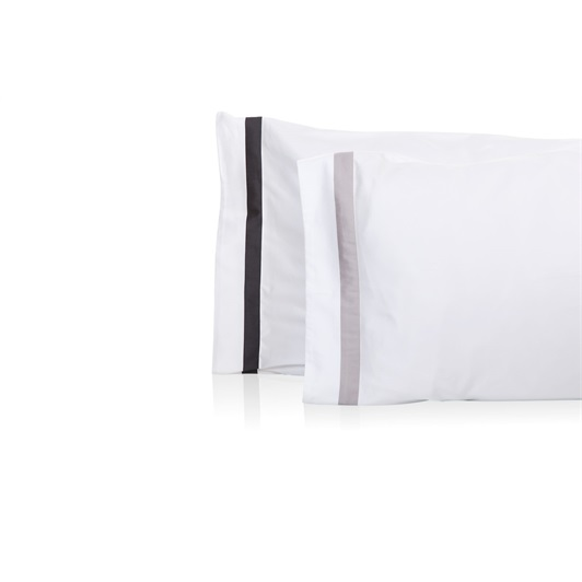 Finibus Border Standard Housewife Pillowcases White/Grey