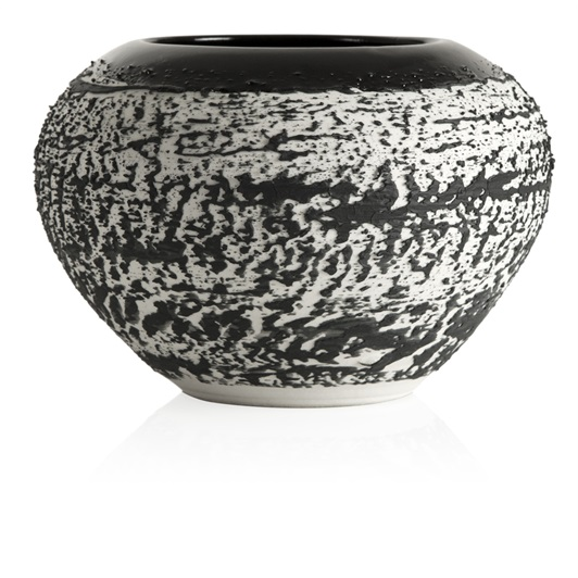 Magma Small Round Textured Vase (Black)