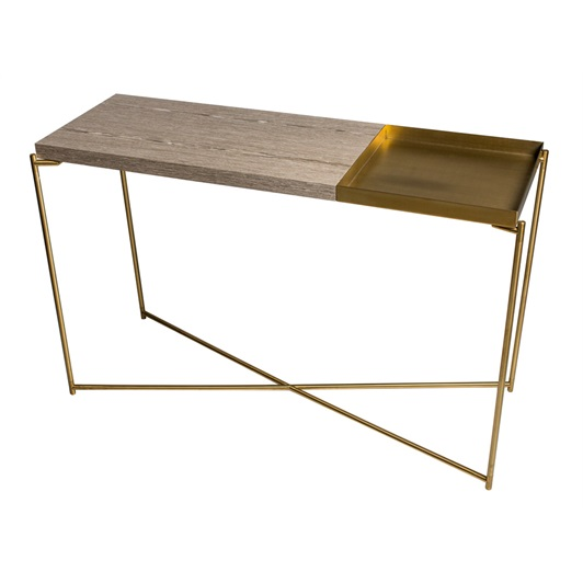 Console L - Weathered Oak & Brushed Brass