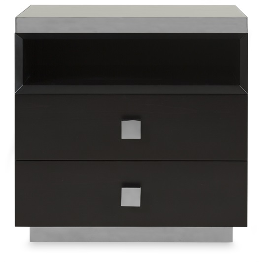 Dark Beech & Stainless Steel Bedside