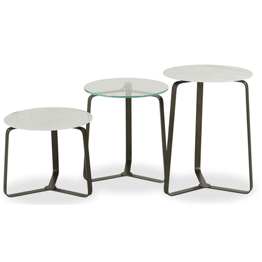Nest Tables - Raw Metal & White Ceramic Marble & Clear Glass