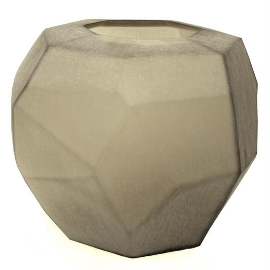 Cubi Vase Smoke Grey, Round
