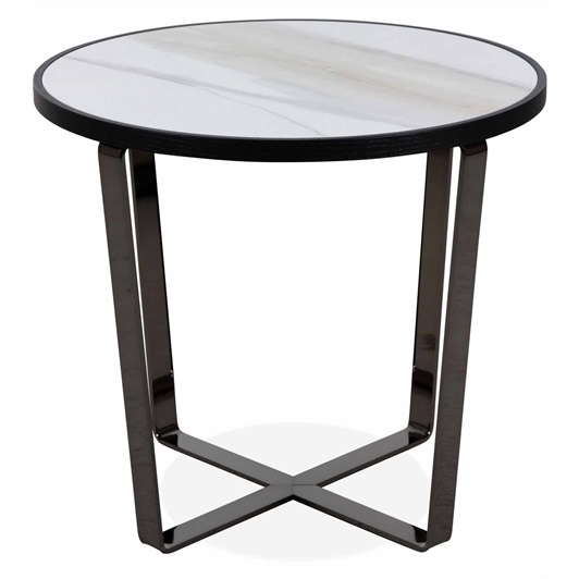 Side Table Smoked Nickel, Glossy Ceramic