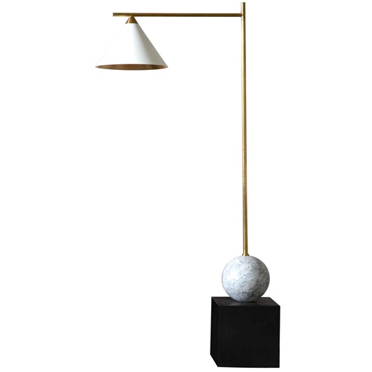 Cleo Floor Lamp Bronze and Antique-Burnished Brass with Antique White Shade