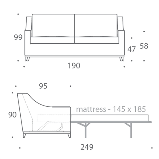 2.5 Seater Sofa Bed - Large